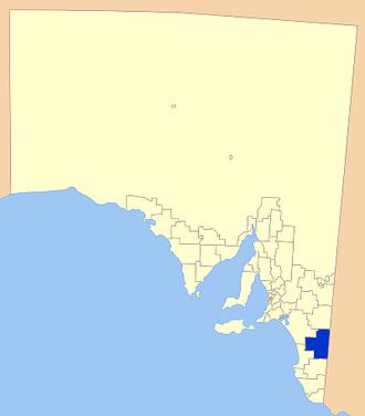 Tatiara District Council - Location of Tatiara District Council in blue