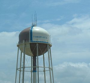English: The water towers on the north side of...