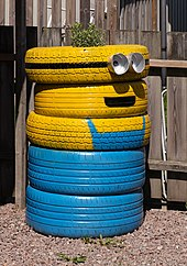 Tires recycled as minion garden art in Brodalen, Sweden