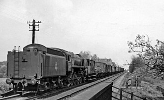 Lickey Incline - BR 9F banker near the summit approaching Blackwell in 1957