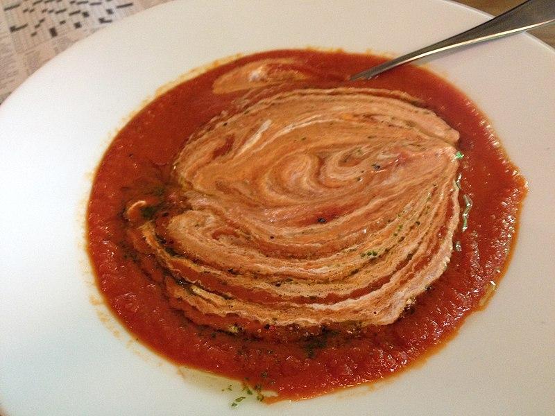 File:Tomato soup with sour cream, Václav Havel Airport Prague, Czech Republic - 20140712.jpg