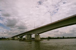 A1 autostrada (Poland) - 2005 photo of partially completed bridge over the Vistula river in Toruń-Czerniewice on the Torun bypass, with only one carriageway finished and pillars for the planned second one.  The bridge was opened with dual carriageways in fall of 2011 and became part of A1.