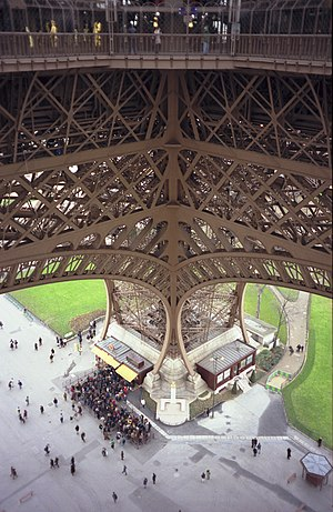 Eiffel Tower in popular culture - Looking down from the first level at one of the feet of the tower.