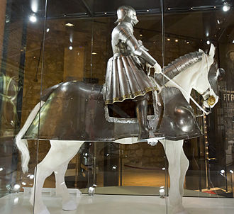 Battle of the Spurs - An early armour of Henry VIII with a contemporary horse armour. Indicative of the appearance of English men-at-arms at the battle. Royal Armouries.