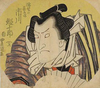 Uchiwa-e - The actor Ichikawa Ebijuro I by Toyokuni I