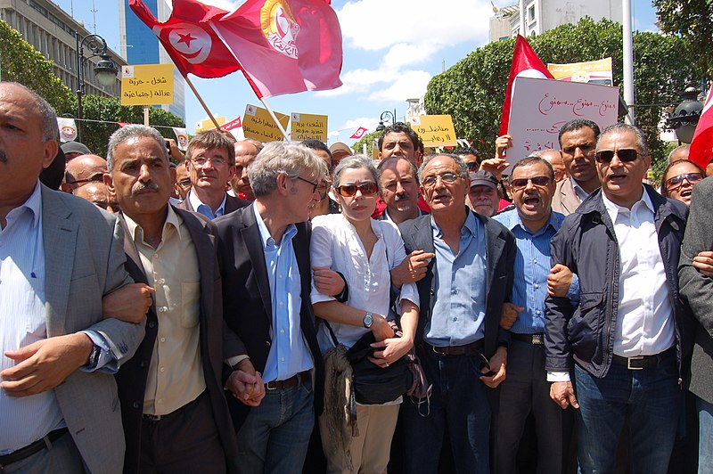 File:Trade union leaders, May 1st protest, Tunis, Tunisia.jpg