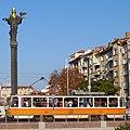 Tram in Sofia near Sofia statue 2012 PD 026.jpg