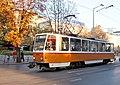 Tram in Sofia near St Nedelya Church 2012 PD 013.jpg