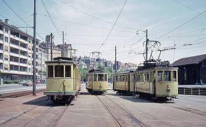 Trams in Neuchâtel - Trams at Evole depot in Neuchâtel in 1976