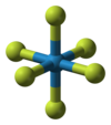 Ball-and-stick model of tungsten hexafluoride