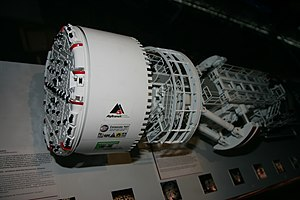 Tunnel boring machine - Top view of a model of the TBM used on the Gotthard Base Tunnel.