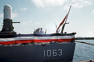 Turkish flag raised on the stern of ex-USS Reasoner (FF-1063).jpg