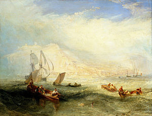 Handline fishing - Line Fishing, Off Hastings, oil painting by J. M. W. Turner, circa 1835