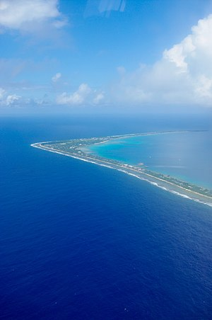 Fongafale -  Aerial view of Tengako peninsula looking south to Fongafale