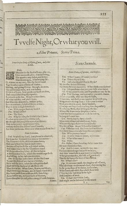 The title page of Twelfth Night from the 1623 First Folio Twelfth Night F1.jpg