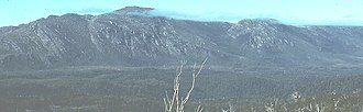 Mount Tyndall (Tasmania) - Tyndall range from the west in the 1970s