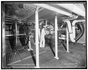 USS Massachusetts (BB-2) - Steam steering gear of the U.S.S. Massachusetts