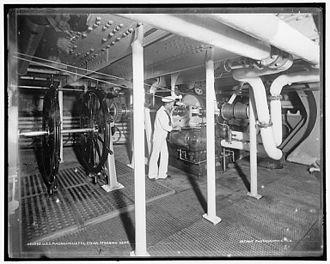 USS Massachusetts (BB-2) - Steam steering gear of the U.S.S. Massachusetts
