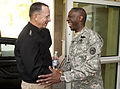 U.S. Army Gen. Kip Ward, right, the commander of U.S. Africa Command, greets Chairman of the Joint Chiefs of Staff Navy Adm. Mike Mullen at the command's headquarters in Stuttgart, Germany, Aug. 31, 2010 100831-N-TT977-008.jpg