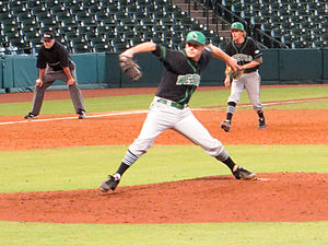 University of Arkansas at Monticello - UAM pitcher Jeff Harvill delivers a pitch at Minute Maid Park in 2014.