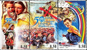 United Nations High Commissioner for Refugees - UNHCR 50th anniversary. Stamp of Tajikistan, 2001.