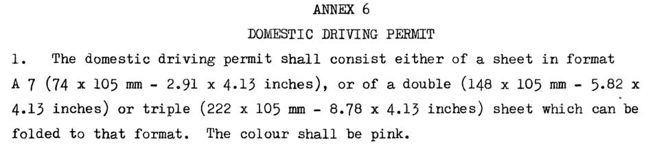 UN Geneva convention driver permit color