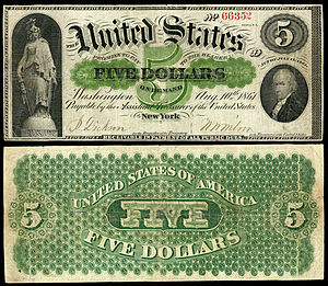 Greenback (1860s money) - Image: US $5 DN 1861 Fr.1