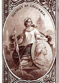 Distretto di Columbia stemma nazionale dal retro della banconota Banca nazionale Serie 1882BB