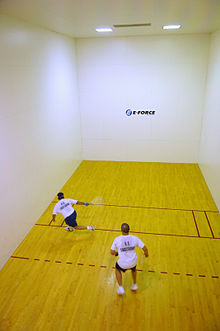 People playing racquetball