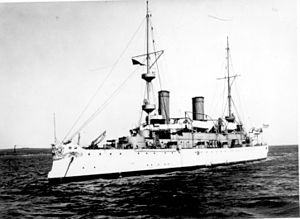 USS_Olympia;Port Bow, 10 February 1902.