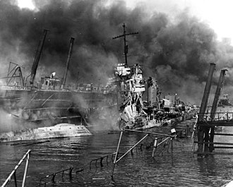 USS Shaw (DD-373) - Wreckage of bombed Shaw at Pearl Harbor