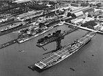 USS Yorktown (CV-5) - Enterprise (CV-6) and Boise (CL-47) at Newport news SB in 1937.jpg