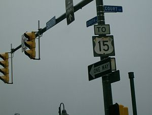 U.S. Route 15 - Authentic US 15 shield at the former northern terminus in Rochester, NY.