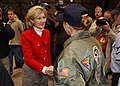 US Navy 040111-N-1328C-511 Chairwoman for the Subcommittee on Military Construction, Senator Kay Bailey Hutchison, R-Texas, shakes hands with one of the many naval reservists and active duty Sailors.jpg