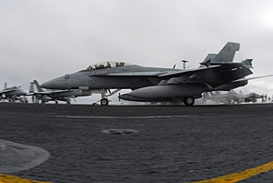 Composite Training Unit Exercise - An F/A-18F Super Hornet from VFA-41 deployed with USS Nimitz (CVN-68) during an COMPTUEX in late 2006 off the coast of Southern California.