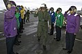 US Navy 070717-N-8591H-040 Geoffrey David Shepherd, Royal Australian Air Force Air Marshal, salutes as he passes side boys aboard the USS Kitty Hawk (CV 63).jpg