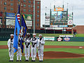 US Navy 090620-N-2888Q-030 Members of the Navy color guard of Strategic Communications Wing ONE (TACAMO) at Tinker Air Force Base, parade the colors at the Bricktown Ballpark in Oklahoma City.jpg