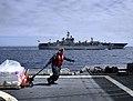 US Navy 100318-N-4774B-418 Ship's Serviceman 2nd Class John Duran transports aboard USS Bunker Hill (CG 52).jpg