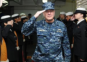 US Navy 111211-N-KQ416-005 Vice Adm. Allen G. Meyers, commander of Naval Air Forces (CNAF), passes through sideboys aboard the Nimitz-class aircraf.jpg