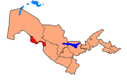 Map of Uzbekistan, location of Xorazm Region highlighted