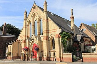 """Ulceby, North Lincolnshire - Ulceby Primitive Methodist Chapel was converted after being privately purchased in 2011. It is now known as """"The Chapel"""" but the inscription """"Primitive Methodist Chapel"""" is still visible at the top of the building's front."""