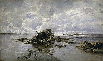 Carlos de Haes - Image: Un barco naufragado (Haes)