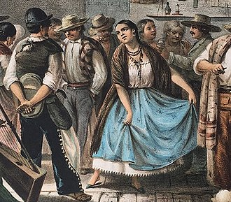 China poblana - A Mexican fandango from the 19th century. In the image a china woman can be seen dancing with her characteristic fine attire, to the sound of a harp.