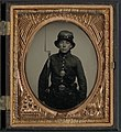 Unidentified young soldier in 5th New Hampshire Infantry uniform and Whipple hat with bayoneted musket LOC 9158138049.jpg