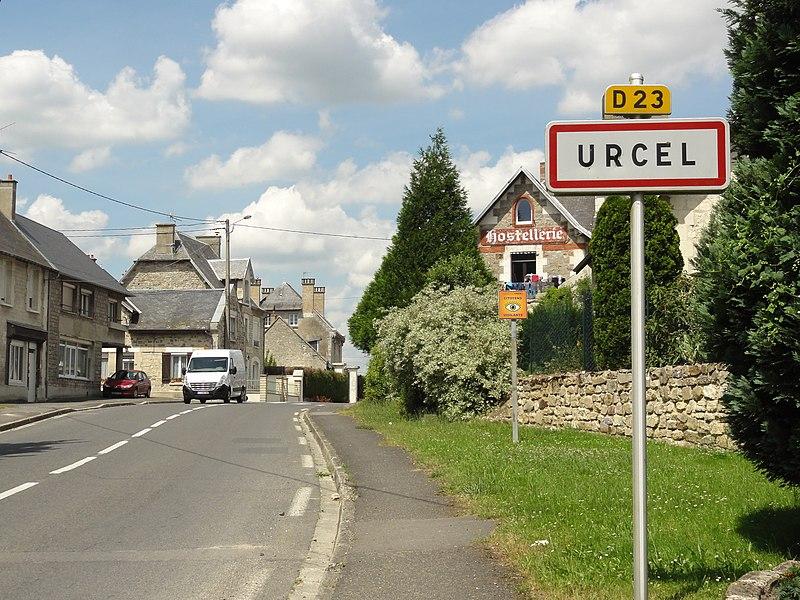 Urcel (Aisne) city limit sign