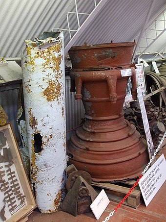 The propulsion unit from a V-2 that broke up in air on display (with exhaust-exit pointed up) Norfolk and Suffolk Aviation Museum V2 combustion chamber geograph.org.uk 1430641 f91f99d8-by-Ashley-Dace.jpg