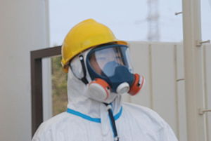 English: One of the gate guards in a hazmat su...