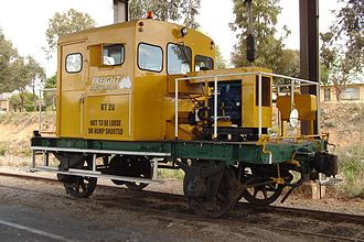 Victorian Railways rail tractor - RT 20 in Swan Hill, featuring Freight Australia livery