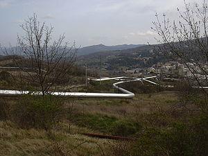 Larderello - Pipework for geothermal power generation in Valle del Diavolo (Devil's Valley), Larderello.