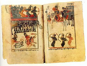 Military of the Sasanian Empire - A medieval Armenian miniature representing the Sasanian War elephants in the Battle of Vartanantz.